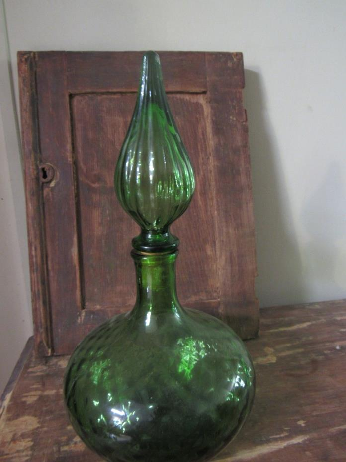 Green Glass Decanter With Stopper