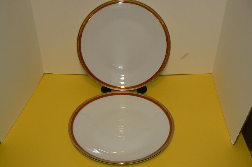 2 Richard Ginori Palermo Rust (Red) Dinner Plates EUC