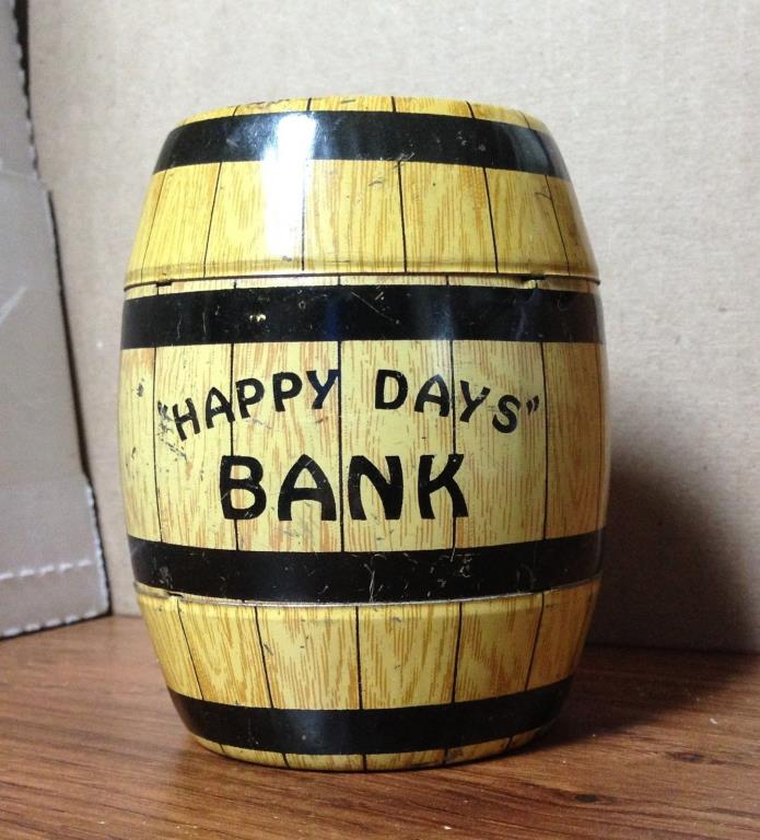 Vintage Tin Litho Happy Days Bank By J. Chein & Co. USA