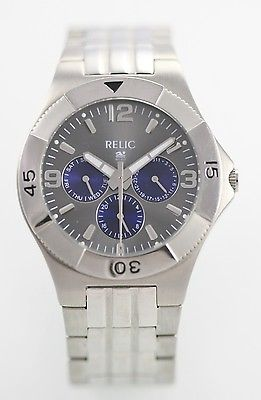 Relic Wet Men's Silver Stainless Steel Water Resistant Quartz Battery Watch