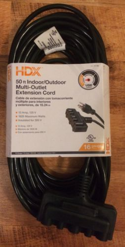 HDX 50ft 16/3 Tri-Tap Green Indoor/Outdoor Multi-Outlet Extension Cord BRAND NEW