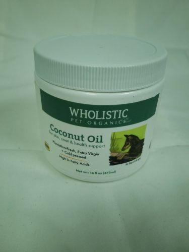 Wholistic Pet Organics Coconut Oil 16oz, 10/18, New Unsealed, Broken Cap C10 C