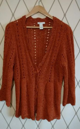 Women's Tweeds cardigan sweater v-neck one button closure open weave rust SZ L