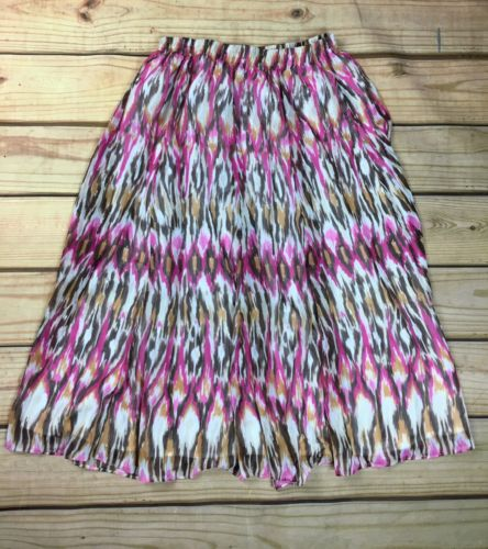 Alfred Dunner Womens Full Skirt Pink Brown Size 10