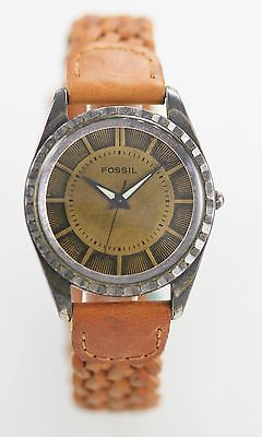 Fossil Watch Mens Brown Leather Stainless Steel Antiqued Silver Battery Quartz