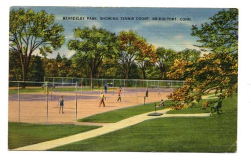 3979: Conn BRIDGEPORT Beardsley Park TENNIS COURTS c1940s Linen Postcard