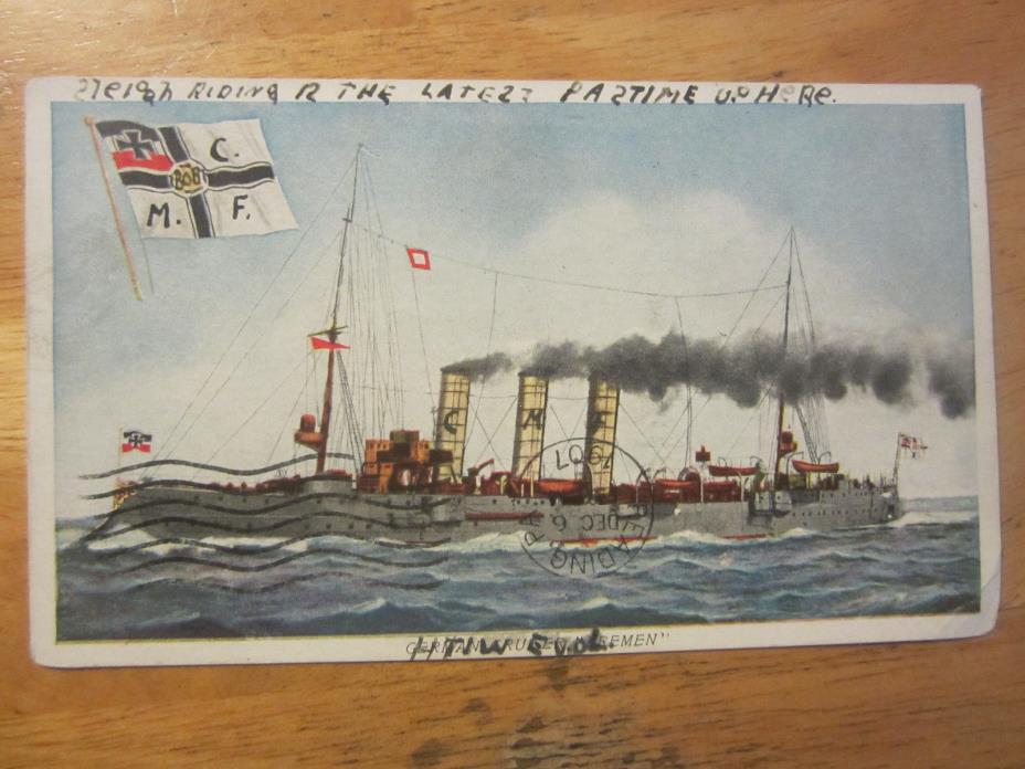 German Cruiser Bremen vintage postcard compliments Prudential Insurance 1907
