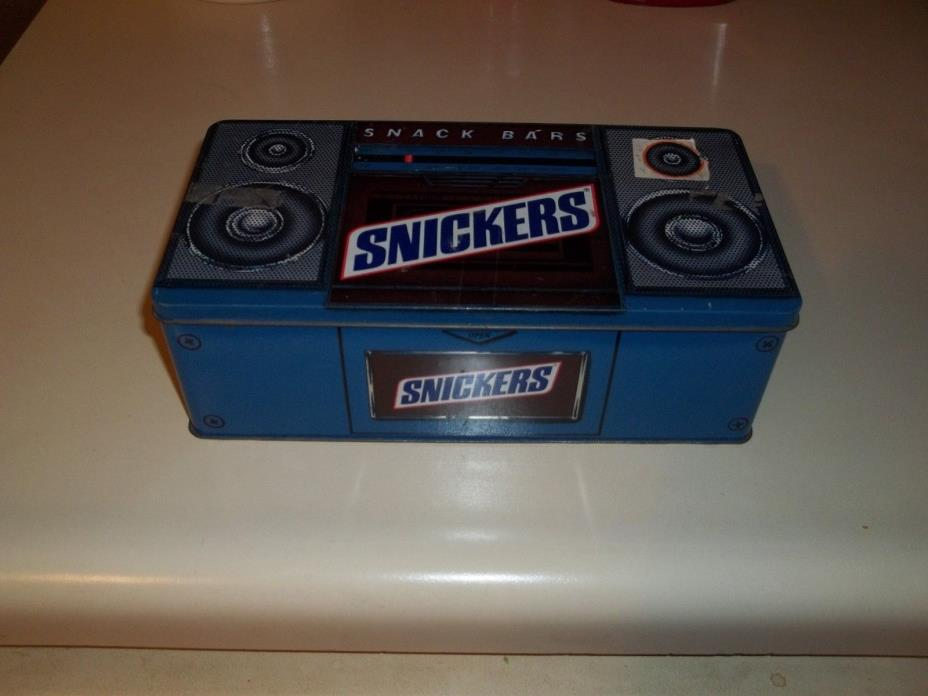 Vintage 1989 Special Snickers Cassette Radio Boombox Themed Tin Box Container