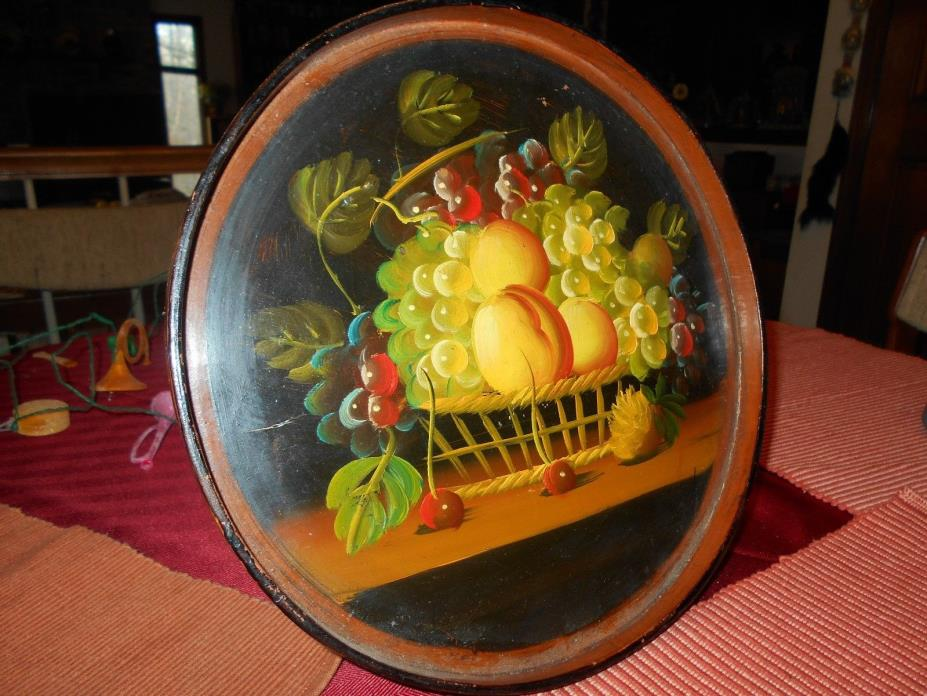 Vtg Antique Tole Toleware Painting Fruit on Round Wood Tray Decorative Wall Art