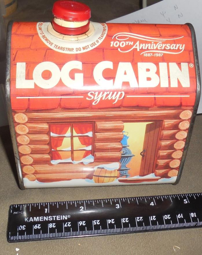 log cabin syrup 100th anniversary tin empty   free shipping