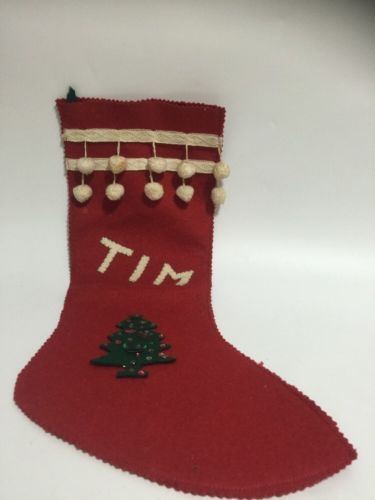 Vintage Homemade Stocking Felt Sequin Decoration Christmas  TIM Tree Red