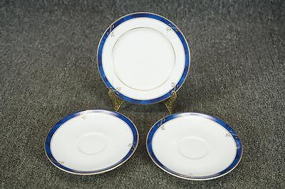 Nikko Fine China Sapphire Porcelain Set Of 2 Saucers And 1 Bread Butter Dish