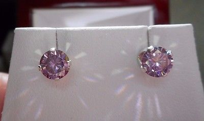 EARRING PAIR SILVER  1.00 TCW  .50 CT 5.50 MM FANCY PRECIOUS PINK MOISSANITE ***