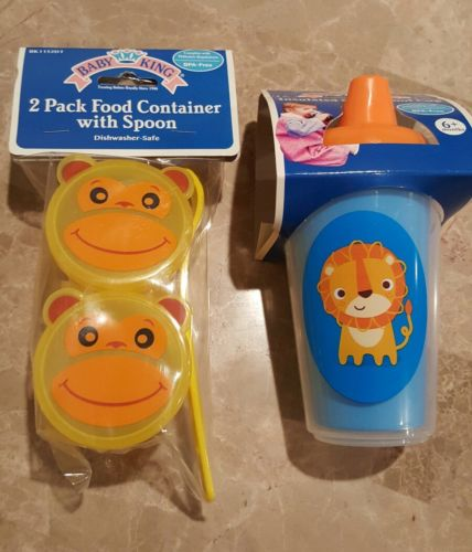 Spill-Proof Insulated Sippy Cup,2 Pack food container with spoon,BABY KING,Lot 2