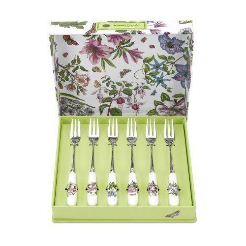 Portmeirion Botanic Garden Pastry Forks, Set of 6, New