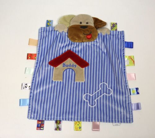 Taggies Buddy Dog Blue Striped Baby Childs Lovey Security Blanket