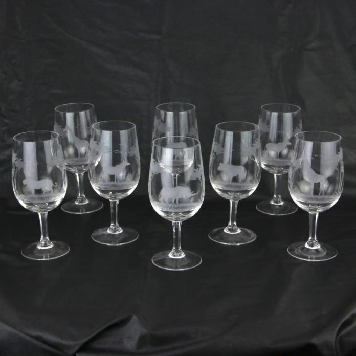 8 ROWLAND WARD Etched Wine Glasses African Animals Rhino, Lion, Elephant Moser