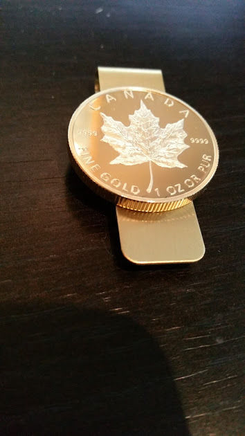 Maple Leaf Coin Money Clip Canadian Wallet 24k Gold Plated Money 1oz $50 Canada