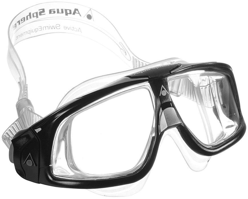 Aqua Sphere Seal 2.0 Swim Mask Goggles, Clear Lens, Black - 175100
