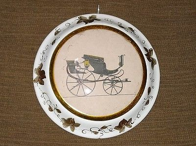 Antique Vintage  Round Frame With Carriage Portrait