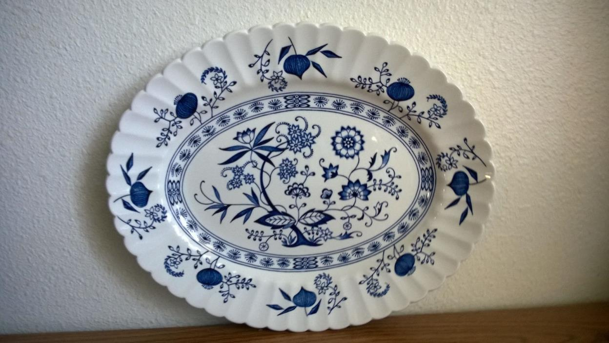 3 THREE PC Classic J&G Meakin BLUE NORDIC Ironstone England OVAL PLATTERS MINTY