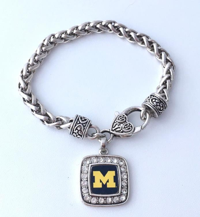 University of Michigan Bracelet Wolverines M LOGO Lettermens Charm Bead Jewelry