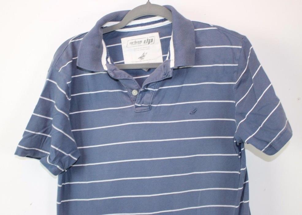 Boys Size M Blue Polo w White Stripes Urban Pipeline UP Polo Blue