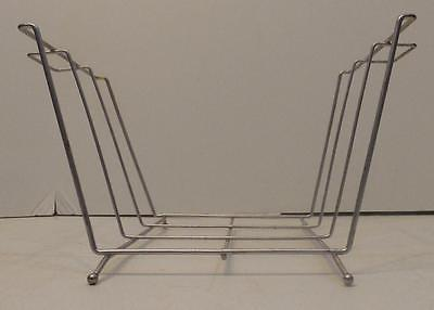 CONTEMPORARY SILVER METAL WIRE MAGAZINE ALBUM TOWEL STORAGE RACK HOLDER