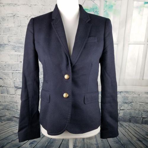J Crew Navy Blue Schoolboy Blazer Size 4 Wool Jacket Gold Buttons