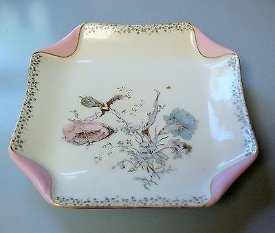 Beautiful Antique Haviland Square Fold Floral Pink & Blue Luncheon Dessert Plate