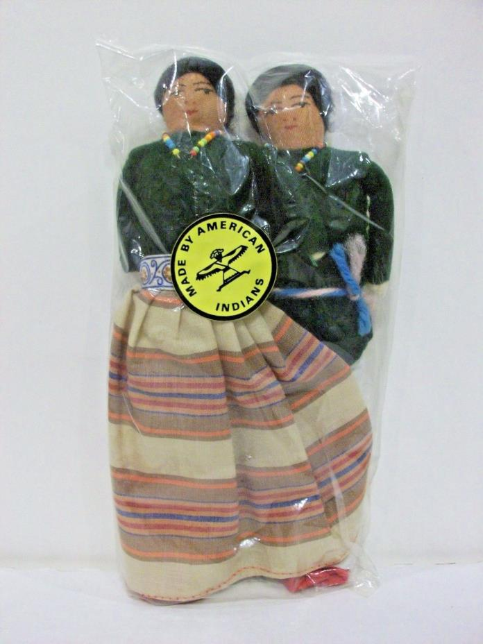 Lot of 2 Dolls In Package made by American Indians Man & Woman Cloth Doll