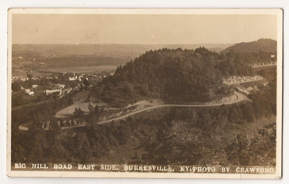 Burkesville, Kentucky Big Hill Road Sepia, 1934 Real Photo Post Card