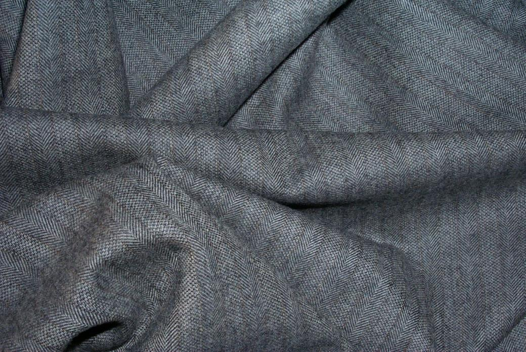 Vintage Gray Herringbone Wool  Apparel Weight Fabric Quilting  3 1/3 Yards X 60