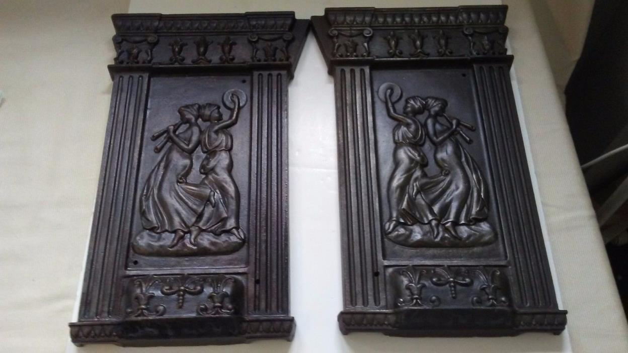 Rare Pair of Ornate Neoclassical Cast Iron Movie Theater Lighted Seat Ends