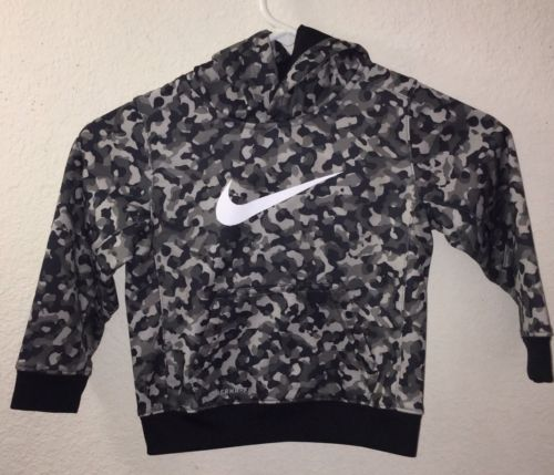 NIKE Black Gray Digital Camo Pullover Therma-Fit Hoodie Sweatshirt Boys 3T