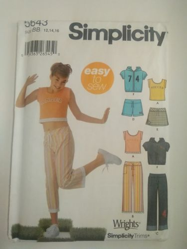 SIMPLICITY 5643 GIRLS Shorts Skirt Jacket knit Top PANTS SIZE BB (12-16)