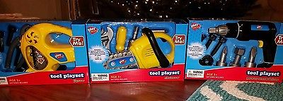 Pretend Play Tool sets you get all 4 Big sets JIGSAW, Chainsaw, Drill & Tool box