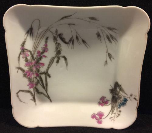 Charles Field Haviland Limoges Square Dessert Dish Circa 1880  Botanical  Floral