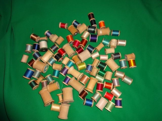 Lot of 92 Antique Vintage Wooden Wood Spools Thread Sewing