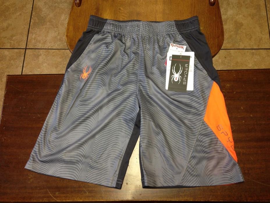 boys NWT Spyder athletic shorts size L gray, orange