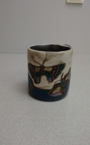 Mara Art Pottery Ceramic Coffee Mug Butterfly Design-New