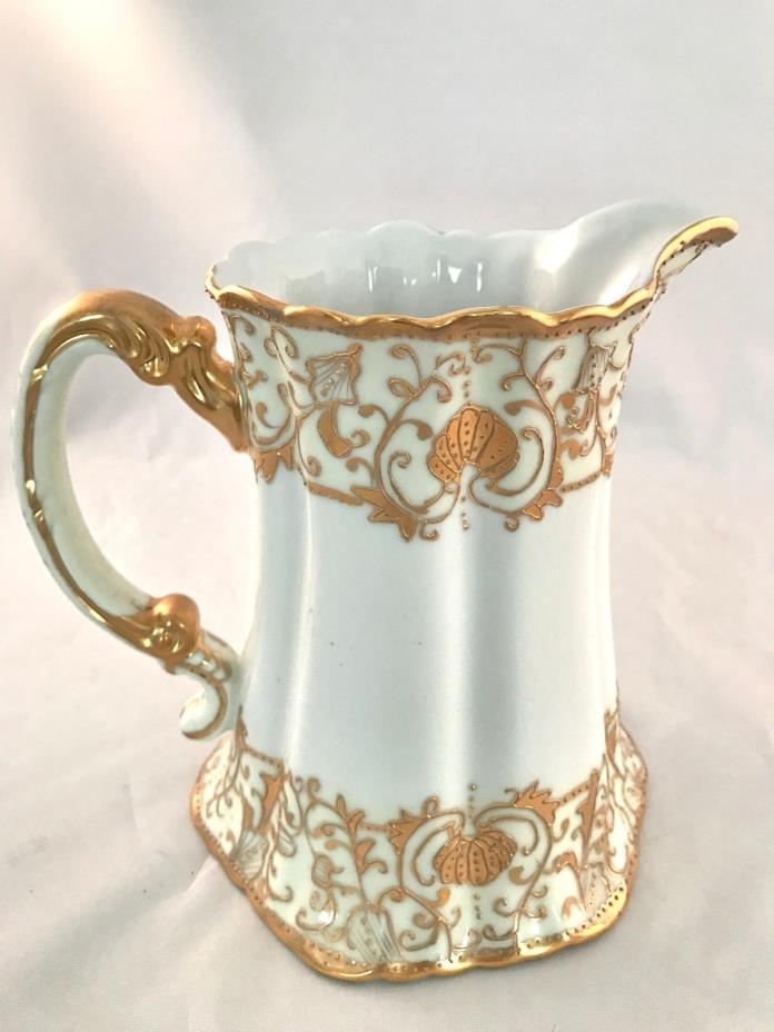 Beautiful Unique Gold& White Pitcher