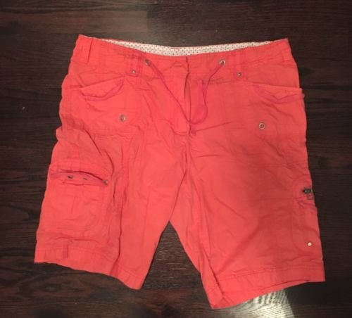 Dalia Collection Womens Cargo Shorts Size 12 Coral