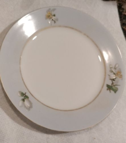 Limoges vintage 1970's,  7.25 in. round plate, hand painted flowers