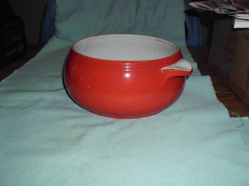 Vintage Hall China Superior Quality Chinese Red Kitchenware Casserole No Lid