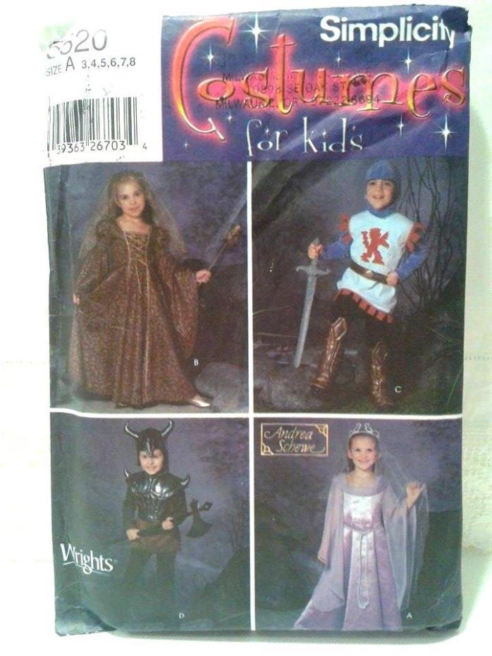 Simplicity Uncut Pattern 5520 Child's Sz. 3-8 Halloween Costume Princess Knight