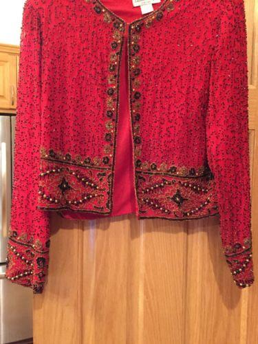 Vintage Designer Red Black And Gold Beaded Jacket Size Large