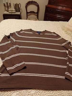 Banana Republic Women's L Sweater, Brown with Ivory Strips/ Long Sleeve