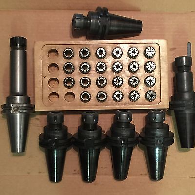 Lot of 7 Command CAT40 ER20 Collet Chuck Tool Holder w/ 23 pc Collet Set ~Used~