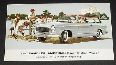 1960 Rambler American Super Station Wagon Vintage Postcard